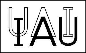Este es el logo oficial de la Unión Astronómica Internacional (IAU). El logo de la IAU está bajo copyright y no puede ser utilizado o reproducido sin el consentimiento previo y por escrito de la IAU.