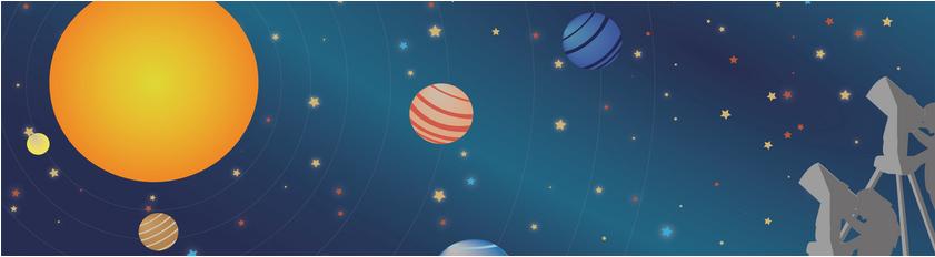 Dibujo de planetas y estrellas con el perfil de un telescopio en ña esquina inferior derecha