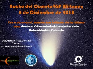 Cartel de las observaciones del cometa 46P Wirtanen desde Aras de ls Olmos